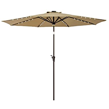 FLAME&SHADE 10ft Round Patio Umbrella with Solar Power LED Lights Outdoor Market Parasol with Crank Lift, Push Button Tilt, Beige
