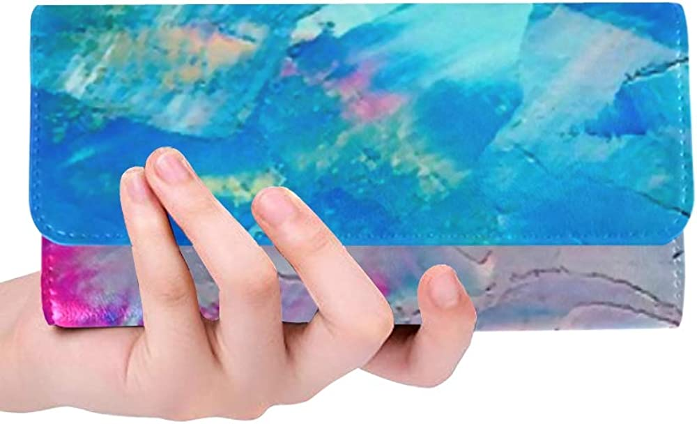 Womens Walle Abstract Oil Paint Texture On Canvas Womens Wallets Travel Trifold Wallet Multi Card Organizer Womens Tri-fold Wallet Blocking Purse Cre