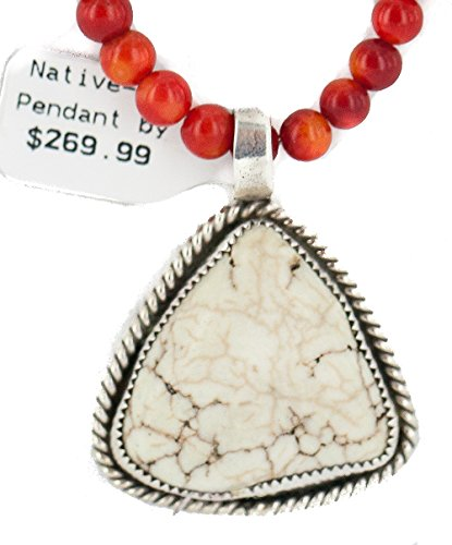 .925 Sterling Silver Certified Authentic Navajo Natural White Buffalo Turquoise and Coral Native American Necklace & Pendant