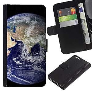Planetar® Modelo colorido cuero carpeta tirón caso cubierta piel Holster Funda protección Para Apple (5.5 inches!!!) iPhone 6+ Plus ( Tierra azul del planeta Inicio Ver espacio Distante )