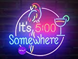 Urby™ 17''x14'' It's 5 :00 S omewhere Parrot Custom Handmade Real Glass Neon Sign Beer Bar Light 3-Year Warranty-Excellent & Unique Handicraft! U98