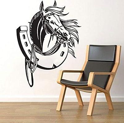 Etiqueta de la pared Cabeza de caballo de herradura animal Vinilo ...