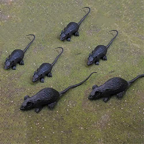 SaveStore 5pcs/lot Halloween Tricky Toys Red Eyed Black Rats Fake Lifelike Mouse Trick Or Treat Fake Mice Halloween Fool's Day Spoof Props