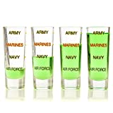 Army Shot Glass Levels, 4 Pack, Military, Veteran, Gift Set + FREE STICKERS