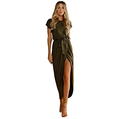 e384ed40fffe5 kaifongfu Dresses Women Short Sleeve Loose Sundress Bohemian Long Maxi Dress  Evening Party Beach(Army