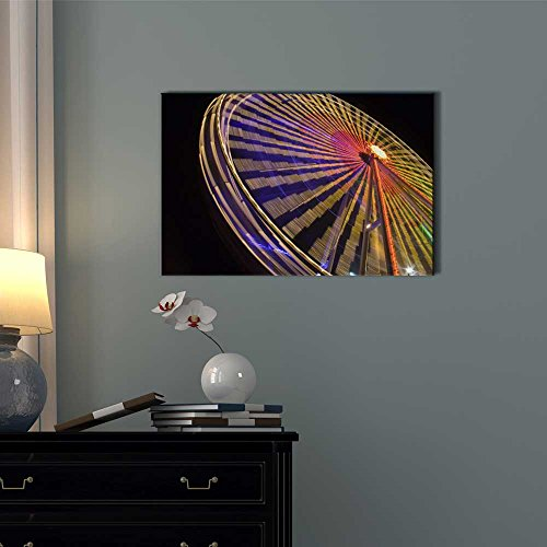 Ferris Wheel at Night with Colorful Lights Wall Decor