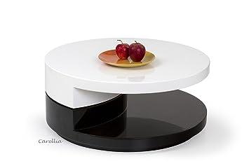 Carellia Table Basse Design Ronde Laque Blanc Noir Amazon Fr