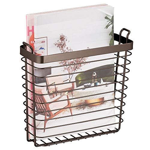- mDesign Metal Wire Farmhouse Wall Mount Magazine Holder, Home Storage Organizer - Space Saving Rack for Magazines, Books, Newspapers, Tablets in Mudroom, Bathroom Near Toilet, Office - Bronze