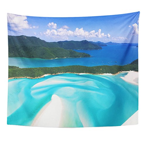 Breezat Tapestry Blue Australia Whitehaven Beach Queensland Island Home Decor Wall Hanging for Living Room Bedroom Dorm 50x60 Inches - Hamilton Island Light