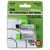 NH AA Battery & Integrated USB Charger Rechargeable 1450mAh 1.2V (2 Pack)