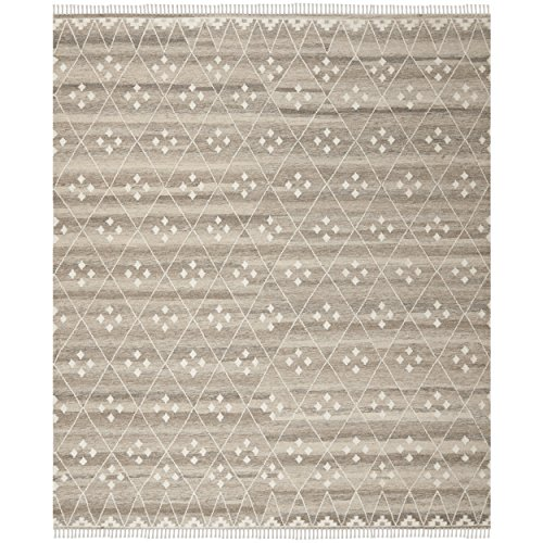 (Safavieh Natural Kilim Collection NKM316B Flatweave Natural and Ivory Wool Area Rug (10' x)
