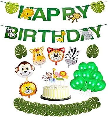 37 Piezas de la Fiesta de cumpleaños de la Jungla Deco: Animales, Feliz cumpleaños, Adornos para Pasteles, Hojas Tropicales, Globos de látex y Globos ...