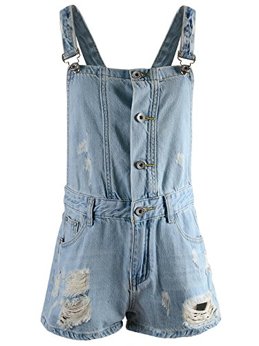 Costumes With Bib Overalls (Anna-Kaci Womens Distressed Denim Adjustable Strap Button Bib Overall Shorts,Blue,Small)