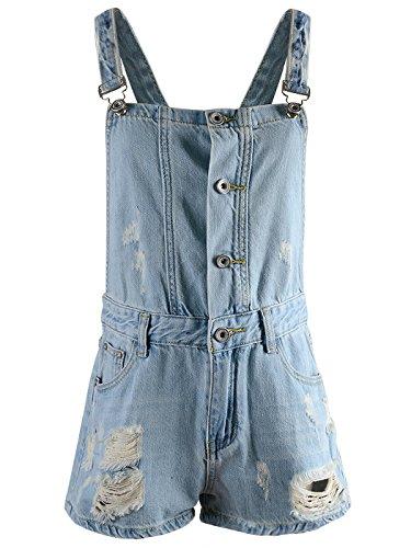 Anna-Kaci Womens Distressed Denim Adjustable Strap Button Bib Overall Shorts