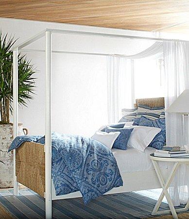 Ralph Lauren Isla Belize Blue Batik Dot 3 Piece Full/Queen Duvet Cover Bundle Set
