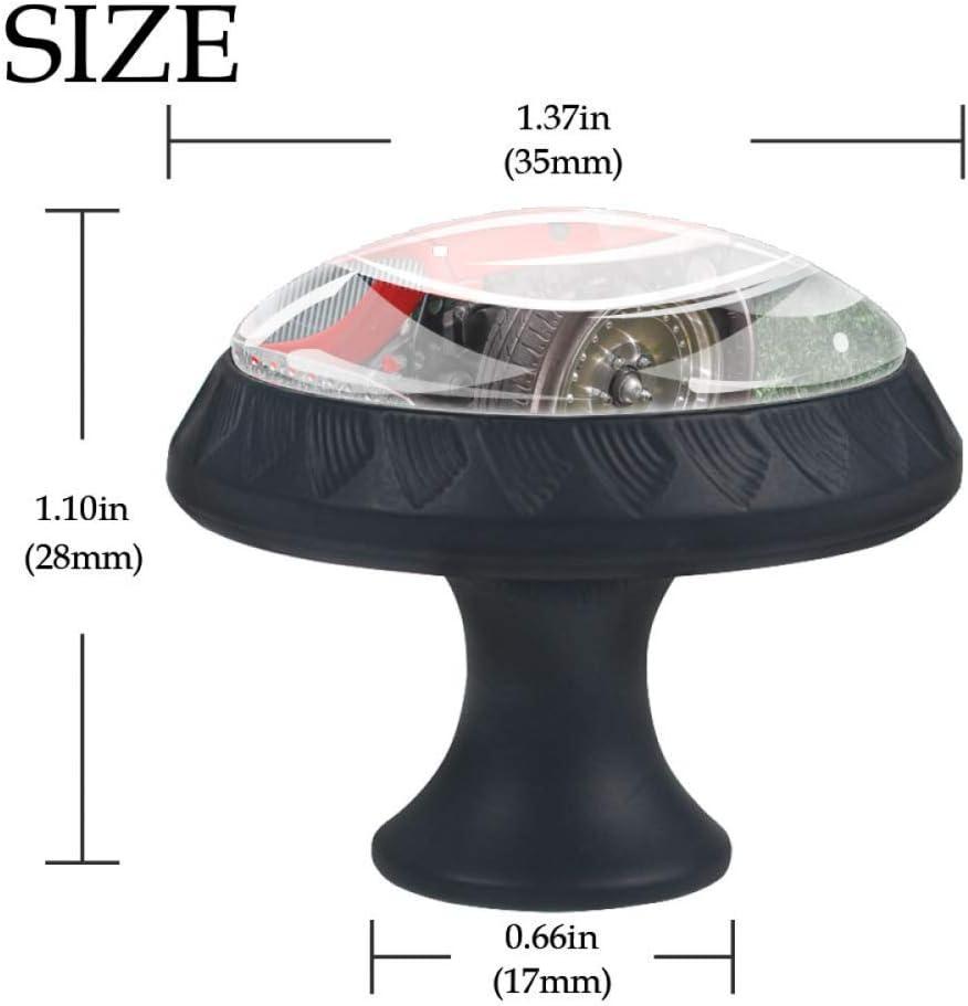 Coche rojo de la vendimia Perillas de gabinete Forma de lente convexa de cristal Pantalla 3D para caj/ón Armario Armario Tire de la manija para decorar Kidsroom Livingroom 4 PCS