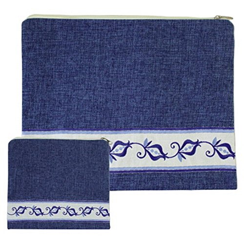 Embroidered Linen Tallit and Tefilin Set of 2 Bags Art Judaica