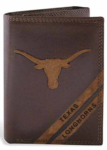 NCAA Texas Longhorns Zep-Pro Pull-Up Leather Trifold Embossed Wallet, Brown by ZEP-PRO by ZEP-PRO