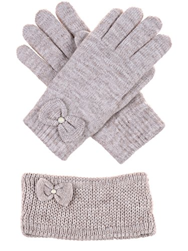 BYOS Winter Chic Pearl Bow Plush Faux Fur Fleece Lined Knitted Gloves & Headband Wrap Ear Warmer Set (Nature Beige) ()