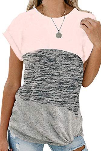 Gray Womens Pink T-shirt - Poulax Women's Color Block Casual T Shirts Loose Twist Knot Tunics Tops,Pink+Light Gray,XL