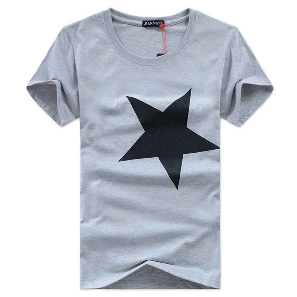 Men's Casual O Neck Short Sleeve Star Printed Cotton Loose Blouse Top (Gray, XXL)