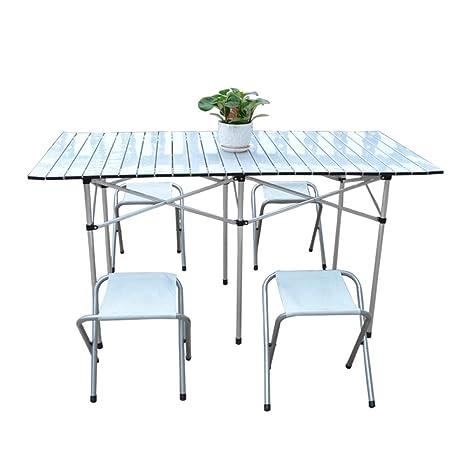 DX Mesa Plegable Mesa Plegable de Aluminio para Exteriores y ...
