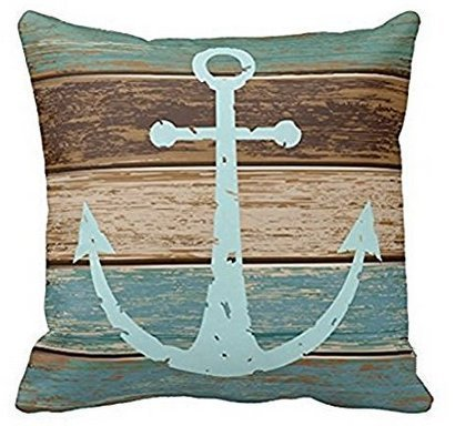 Leiacikl22 Polyester Cushion Cover Nautical Anchor Weathered Wood, pillowcase 18x18