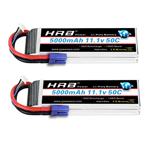 HRB 2pack 3S 11.1V 5000mAh LiPo Battery 50C with EC5 Plug for 1/10 / 1/8 Scale Cars, Trucks, and Buggies
