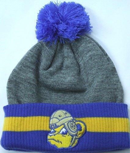 UCLA Bruins Mitchell & Ness Jersey Stripe Cuffed Knit Hat w/ Pom - Ucla Embroidered Jersey
