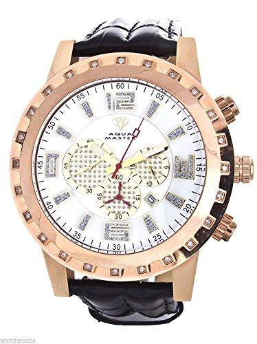 se Gold-tone Case Diamond Bezel Black Leather Band Chronograph Watch W138 ()