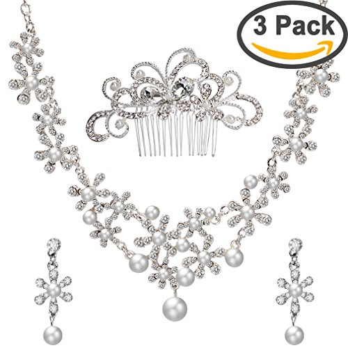 ANBALA Bridal Wedding Hair Comb, Crystal Rhinestones Pearls Women Wedding Hair Comb with 1 Set Wedding Necklace Earrings Decoration Headpiece Jewelry Set for Brides, Style (Wedding Jewelry For Bridesmaids)