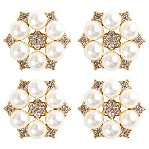DIY-SHINNY 24 Pieces 26 mm Flatback Pearl Rhinestone DIY Embellishments for Wedding Decoration, Flower Center, Gift Card Decor (Gold)