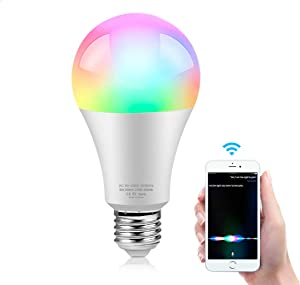 Lcamaw Smart WiFi LED Light Bulb Work with Apple HomeKit and Siri Voice Control, Dimmable & 16 Million RGB Color Changing, No Hub Required