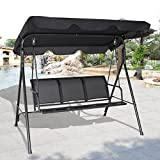 TANGKULA 3 Person Patio Swing Glider Outdoor Swing Hammock Glider Chair (Black)