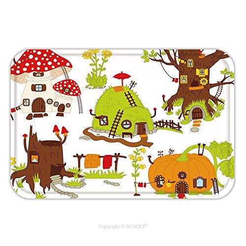 Flannel Microfiber Non-slip Rubber Backing Soft Absorbent Doormat Mat Rug Carpet Vector Forest House, Digital Vector Pumpkin, Amanita, Mushroom, Hill, Anthill, Tree House, Woodland House 589246532 for