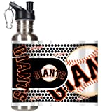 MLB San Francisco Giants Water Bottle with Metallic Wrap and Pop-Up Spout, Stainless Steel, 26-Ounce