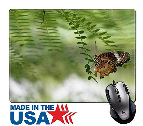 "MSD Natural Rubber Mouse Pad/Mat with Stitched Edges 9.8"" x 7.9"" IMAGE ID 33264223 butterfly an island on a leaf (Blossom Island Light)"