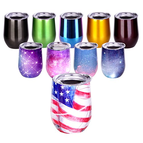 Wine Tumbler, Stemless Insulated Wine Cup 12oz Stainless Steel Wine Tumbler with Lid for Drinks, Juice, Wine, Coffee, Champagne, Cocktails