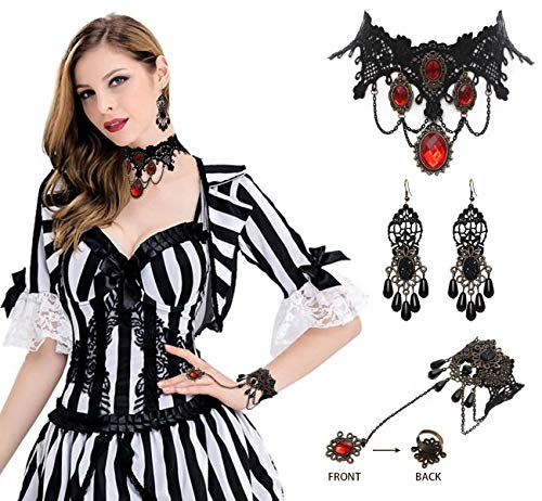 Vampire Choker Bracelet Earring Costumes for Girls - Gothic Necklace Halloween Party Supplies Decorations