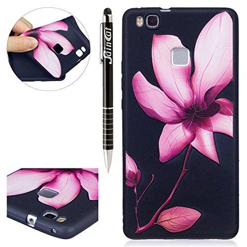 Funda Huawei P9 lite,SainCat Moda Alta Calidad suave de Relieve Pintura TPU Silicona Suave Funda Carcasa Caso Parachoques Diseño pintado Patrón para Carcasas Huawei P9 lite TPU Silicona Flexible Candy Lotus