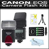 Digital Concepts Flash Kit for Canon EOS Rebel T5i, T4i, T3i, T3, EOS 5D Mark III, 70D DSLR Camera Bundle Includes Vivitar DF-293 TTL LCD Bounce Zoom Swivel DSLR AF Flash with LCD Display Includes Reflecting Plate Plus Wide Angle Flash Diffuser Plus 4AA Rechargeable NIMH Batteries