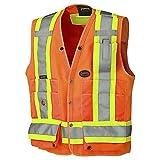 Pioneer V1010150-L High Visibility Surveyor'S Safety Vest, Orange, Large
