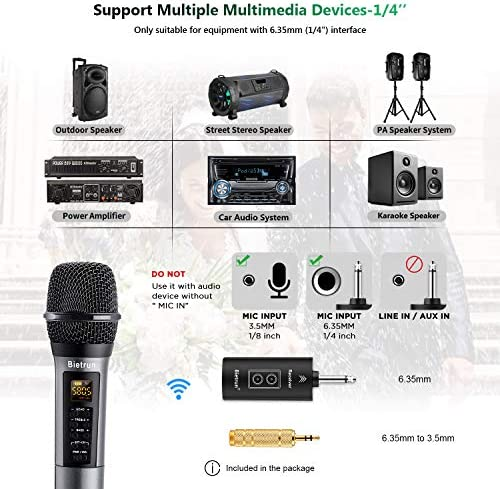 Wireless Microphone with Echo, Treble, Bass & Bluetooth, UHF Handheld Wireless Karaoke Dynamic Microphone System with Rechargeable Receiver, 98 FT Range, for Karaoke, Singing, Wedding, Amp, PA System