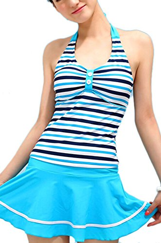 Summer Mae Women's Navy Stripe Halter Backless Skirted Swimsuit Bathing Swimwear