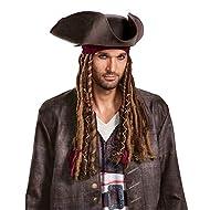 Disguise Disney Men's POTC5 Captain Jack Sparrow Hat, Bandana and Dreads-Adult, Multi, One Size