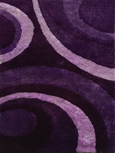 CHIC RUGZ Lo La 008 Modern Purple Hand Tufted Shag Area Rug, 5' x 7' (Chic Hand Tufted Rug)