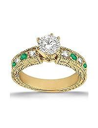 Antique Vintage Bridal Emerald and Diamond Engagement Ring Band 18 karat White Gold GH/VS