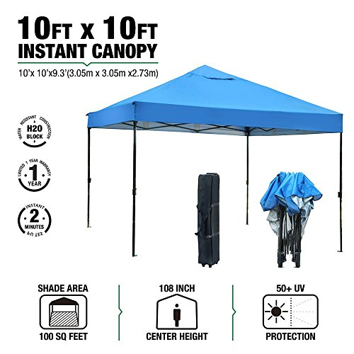 Commercial Shelter - kdgarden Ez Pop Up Canopy Tent Outdoor Commercial Instant Shelter with Wheeled Carry Bag, 10 by 10 Feet, Blue