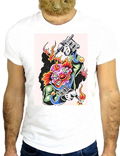 T SHIRT JODE Z1821 CARTOON CLOWS TATTOO SMOKE FUN COOL FASHION NICE GGG24 BIANCA - WHITE S