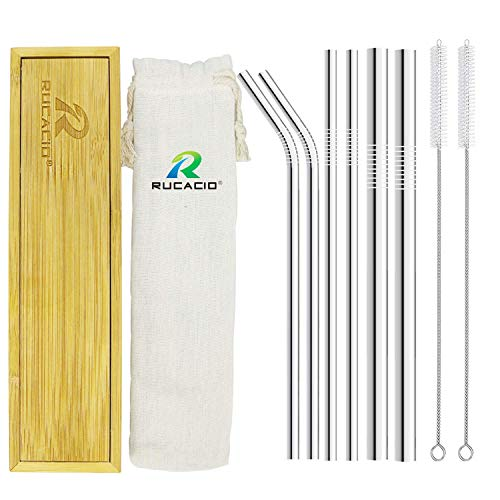 Stainless Steel Straws Reusable Straw-RUCACIO Portable and Reusable Straws Set of 6 Metal Drinking Straws 8.5inches with 2 Brushes for Smoothie and Cocktail (6 stainless steel straws)